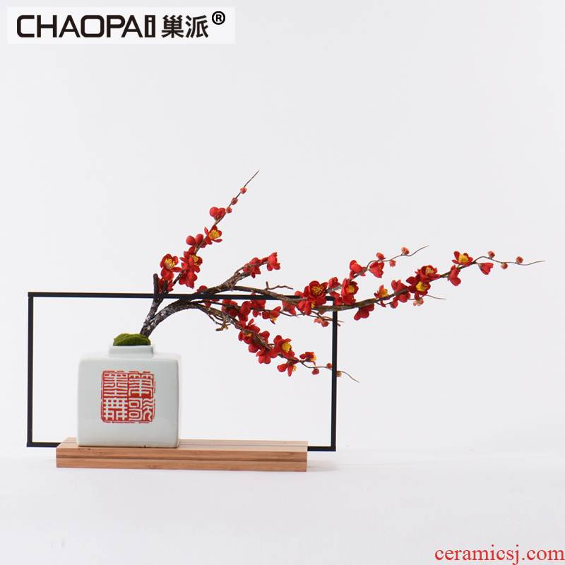 New Chinese style ceramic vase furnishing articles name plum flower potted flower, flower implement whole sitting room study example room dried flowers adorn article