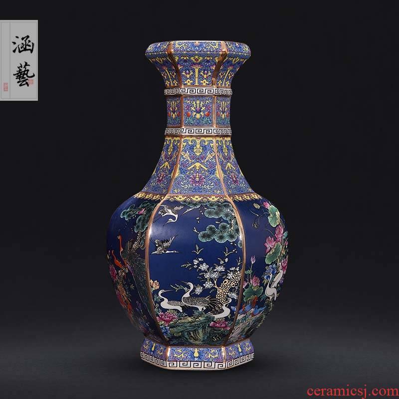 Qianlong vase enamel antique vase of jingdezhen ceramics classical sitting room adornment handicraft furnishing articles present