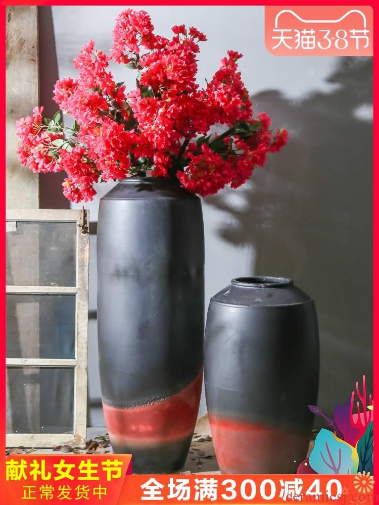 Jingdezhen retro nostalgia pottery decoration amphora ground ceramic furnishing articles manually flower receptacle villa large vase