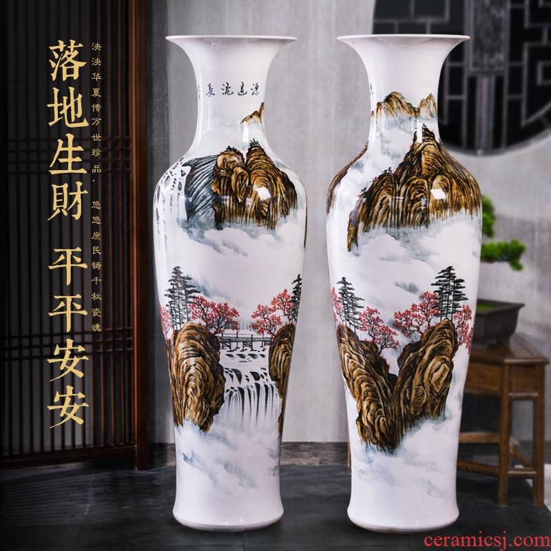 Jingdezhen ceramic hand - made scenery of large vase household housewarming hotel open lobby decoration company in furnishing articles