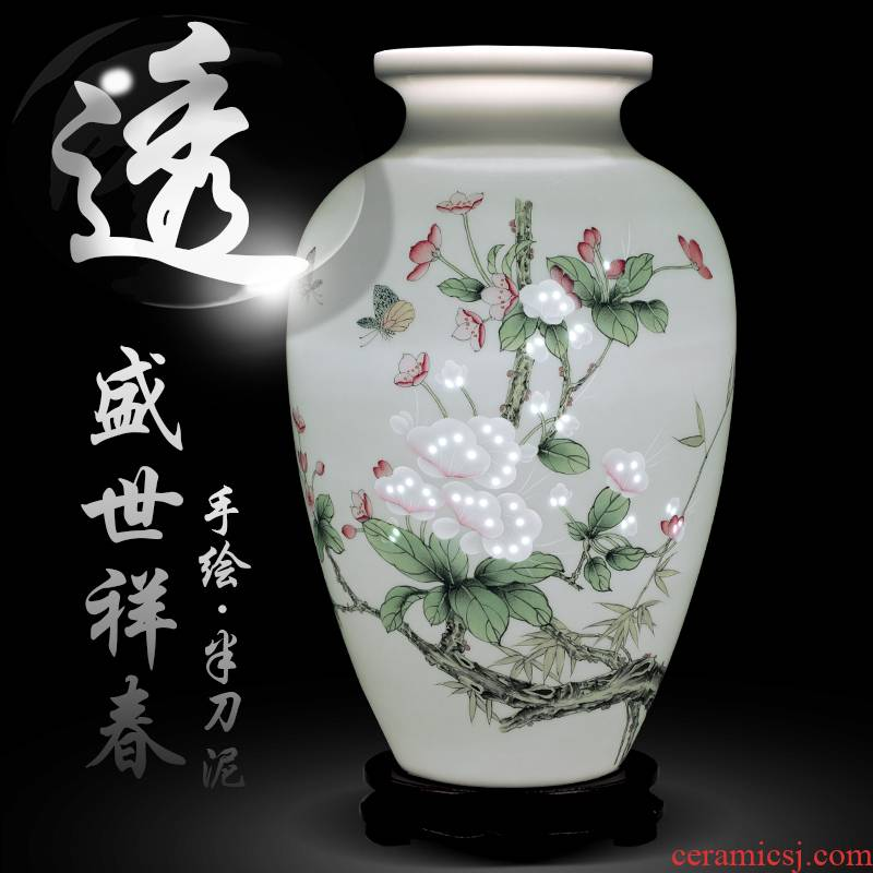 Jingdezhen ceramics hand - made thin body new Chinese style household knife clay flower arrangement sitting room decorate craft items furnishing articles