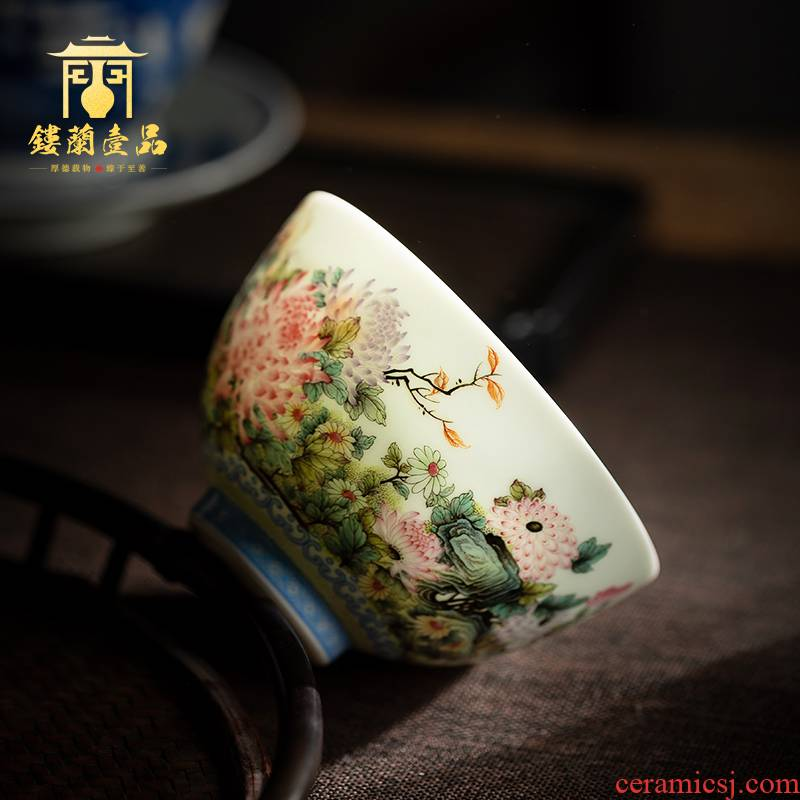 All hand - made pastel by masters cup full of jingdezhen kung fu tea set large ceramic tea cup single cup sample tea cup
