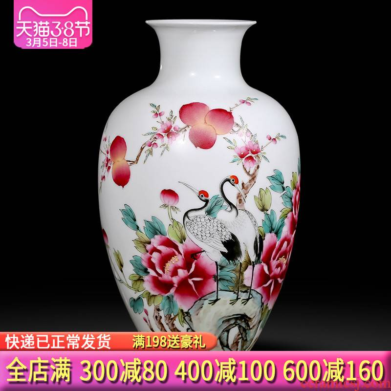 Jingdezhen ceramics hand - made pastel vases, flower arranging longevity and prosperity of Chinese style sitting room adornment is placed gifts