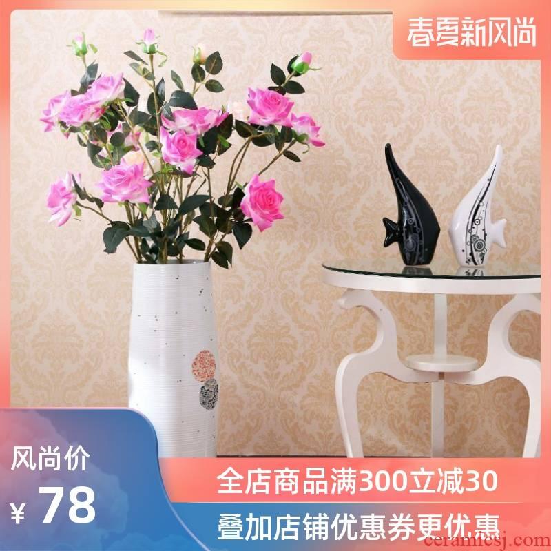 Jingdezhen ceramic modern European sitting room of large hydroponic flower vase lucky bamboo vase