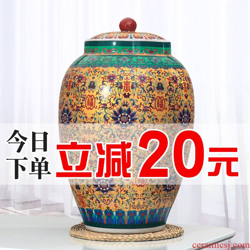 Jingdezhen ceramic barrel barrel storage bins 20 jins 30 jins of 50 pounds with cover seal storage tank with moistureproof insect - resistant