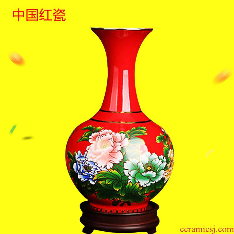 Xiang feels ashamed liling up China red porcelain vase small bottles of blooming flowers, modern Chinese style household decorative furnishing articles