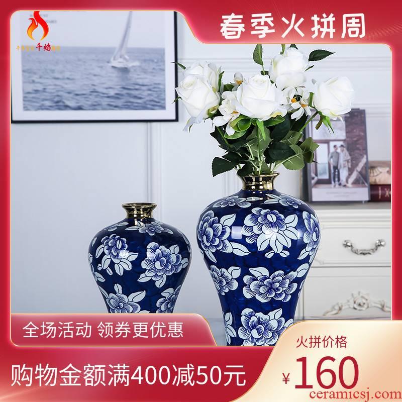 Mesa of jingdezhen ceramic vase light key-2 luxury furnishing articles sitting room adornment ornament blue and white peony flower arranging hand - made mei bottles