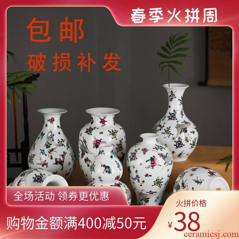Jingdezhen ceramics desktop floret bottle noctilucent fluorescence bottle sitting room decoration flower adornment cranes figure furnishing articles