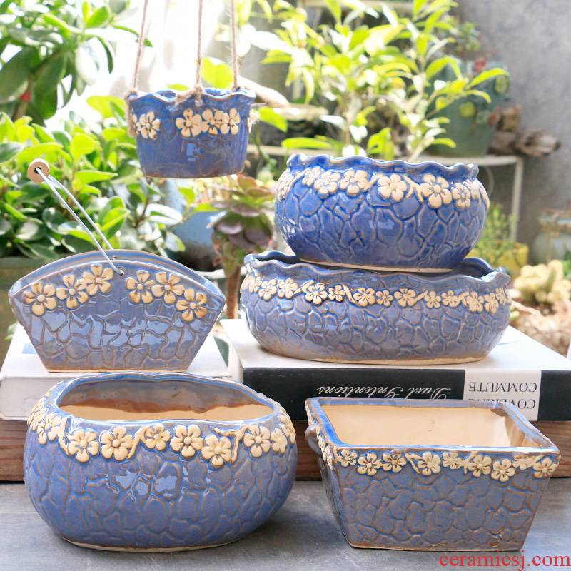 Fleshy flowerpot clearance stoneware size individuality creative contracted green meat meat home flower pot in Korean