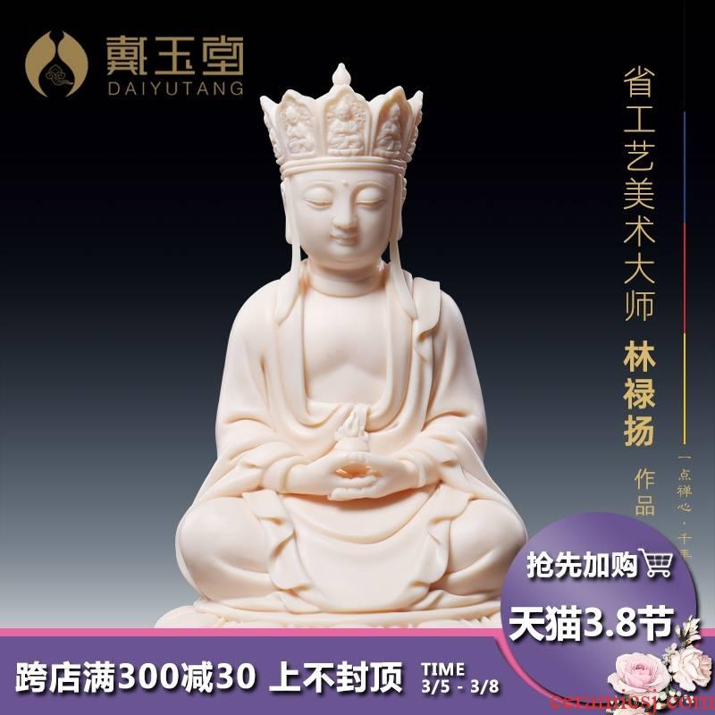 Yutang dai ceramic vehicle with Buddha like penjing jade red porcelain 5 inches like ksitigarbha bodhisattva earth treasure pu of Buddha enshrined