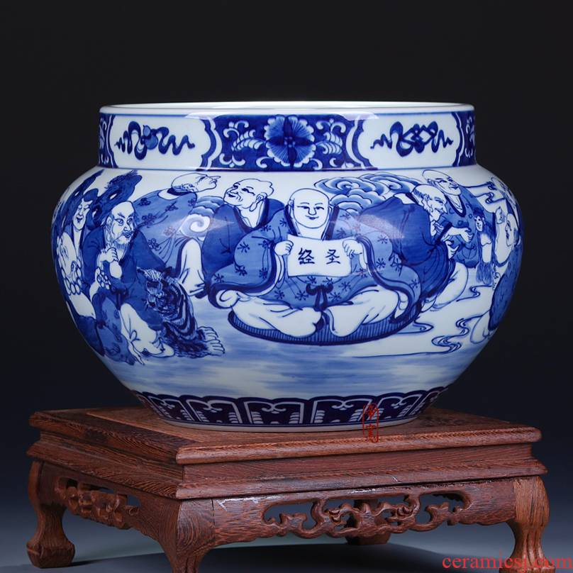 Emperor up antique hand - made 18 arhats cylinder jingdezhen ceramics of blue and white porcelain vase appreciation collection furnishing articles