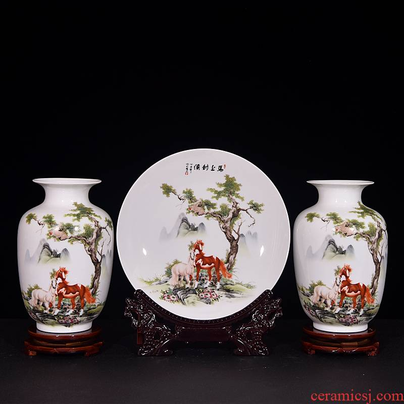 Jingdezhen ceramics three - piece vase furnishing articles of new Chinese style household adornment sitting room flower arranging dried flower crafts