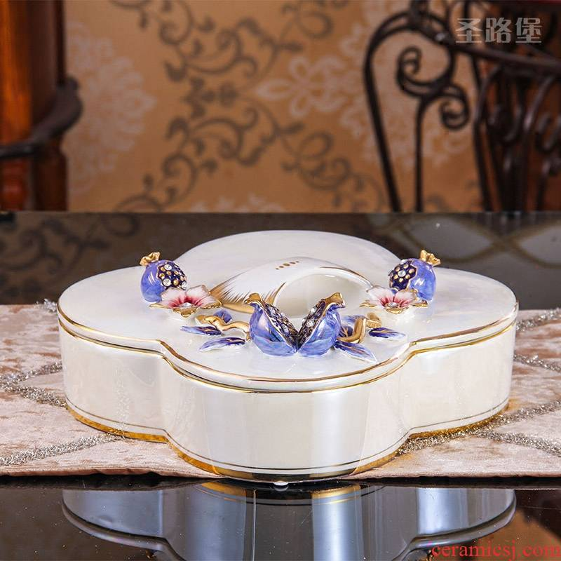 SAN road fort European compote sitting room ceramic dry fruit tray was creative four compote household size with cover candy box