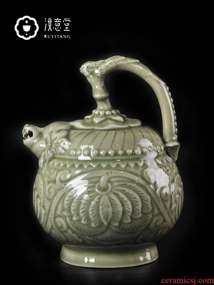 Creative ceramic wine yao state back porcelain jar of shaanxi characteristics pot liquor pot small celadon classical Chinese style household