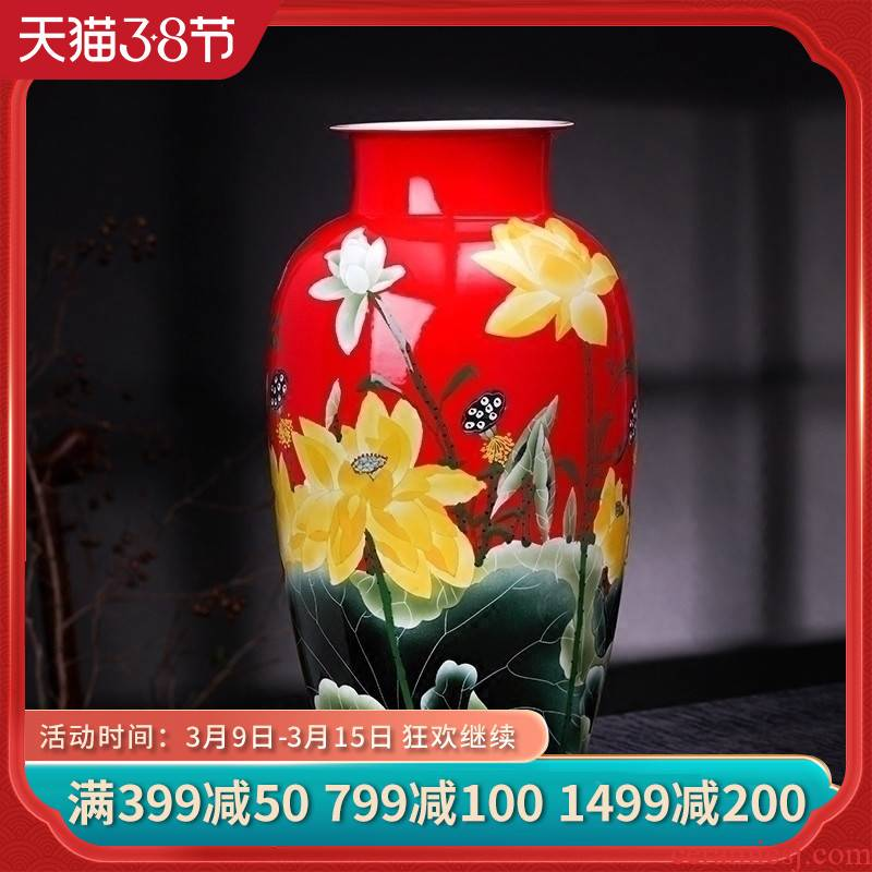 Jingdezhen ceramics vase hand - made the red lotus flower arranging, new Chinese style home sitting room adornment is placed