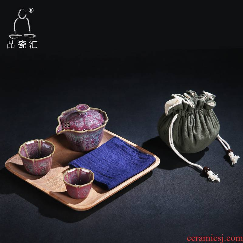 The Product outside the porcelain sink pavilion masterpieces crack cup travel a pot of two cups of kung fu tea set suit portable dry terms plate of the teapot