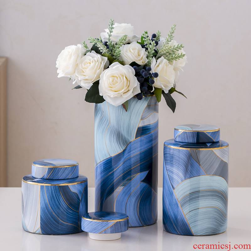 I and contracted ceramic vase light key-2 luxury furnishing articles dried flowers flower arrangement sitting room decoration ideas the abstract household table decoration