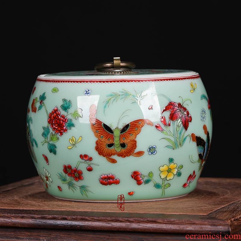 Archaize of jingdezhen porcelain the qing qianlong pastel best butterfly cover can of antique hand - made caddy fixings penjing collection decorations