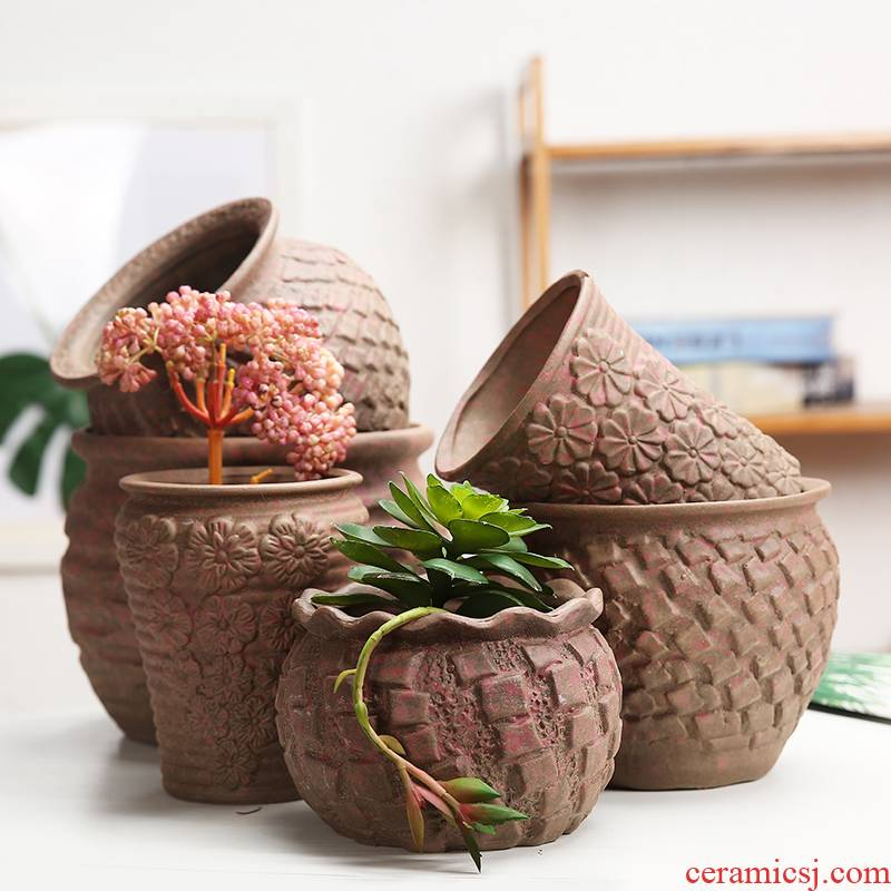 Ceramic flower pot old Europe type coarse pottery breathable, fleshy of large diameter running the mage a new flower implement orchid Ceramic flowers