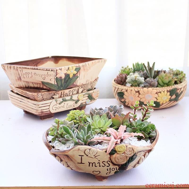 Large caliber flowerpot ceramic platter, fleshy meat meat basin rectangle retro creative coarse pottery oversized went home