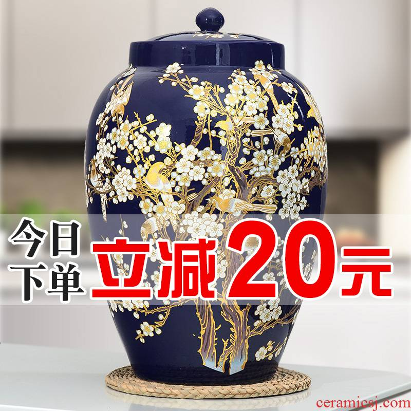 Jingdezhen ceramic barrel pack ricer box store meter box 20 jins 30 jins of 50 pounds with cover household moistureproof insect - resistant rice pot