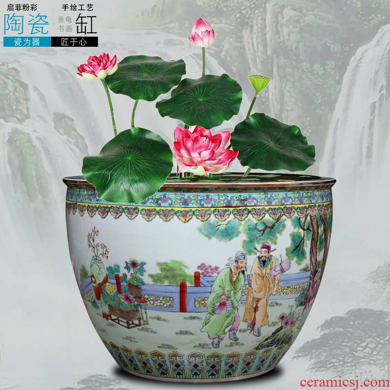 Jingdezhen ceramic aquarium water lily bowl lotus tortoise cylinder painting and calligraphy calligraphy and painting scroll cylinder tank large lotus basin