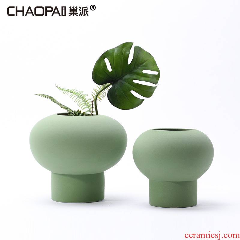 Contracted frosted glass ceramic vase furnishing articles of the new Chinese style household living room table decorations TV ark, dried flowers, flower arrangement
