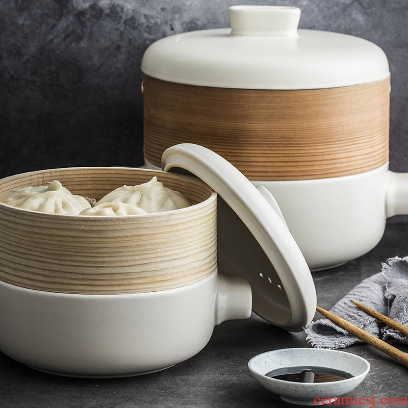 Coagulate fat household casserole stew soup flame stone to use high - temperature ceramic double boiler size bamboo steamer
