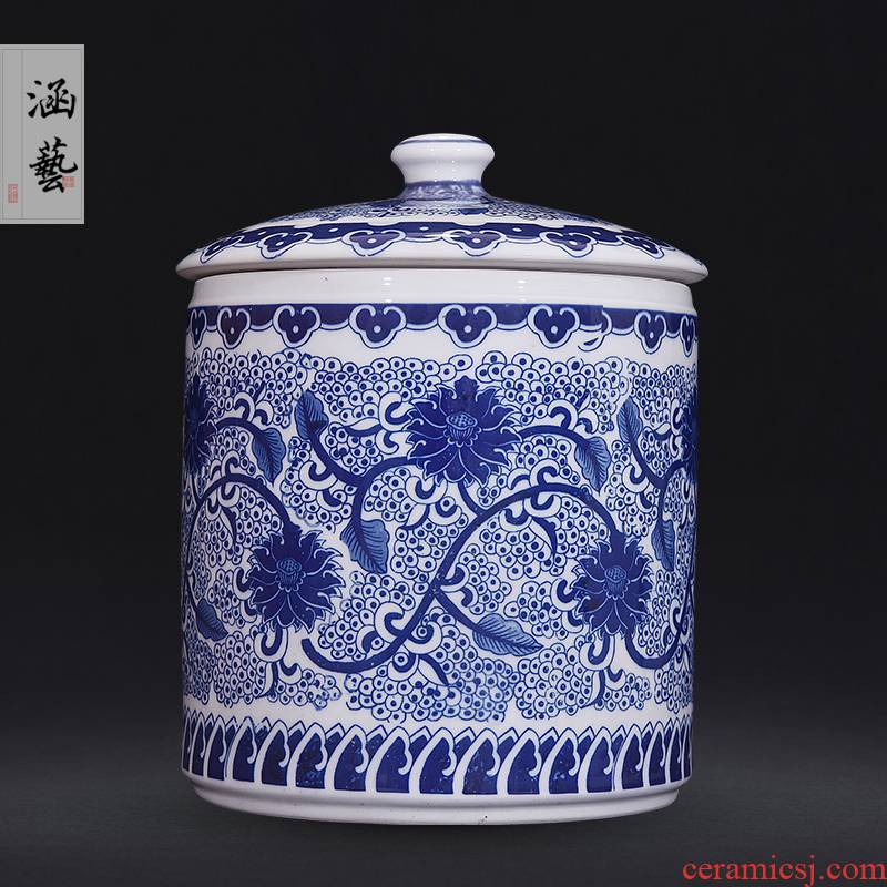 Jingdezhen ceramic straight canister to tie up the lotus flower tea pot sitting room porch Chinese style household adornment furnishing articles of handicraft