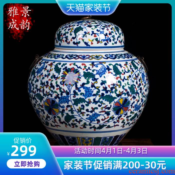 Jingdezhen blue and white youligong large caddy fixings hand - made ceramic vase seal storage tank by hand to restore ancient ways
