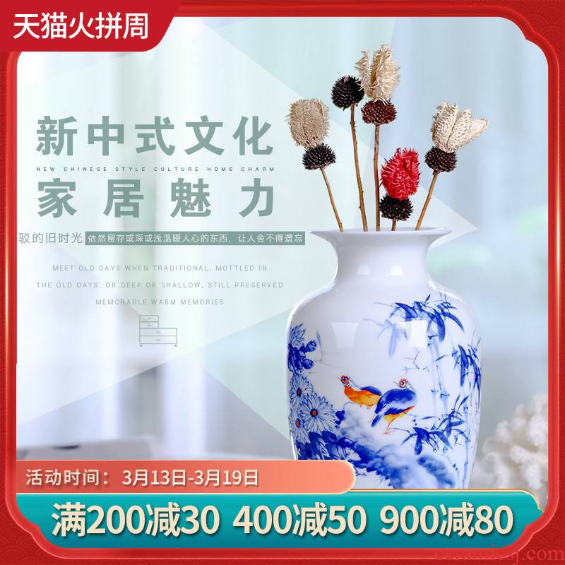 Jingdezhen ceramics, vases, flower arranging machine of Chinese style household act the role ofing is tasted, the sitting room is decorated handicraft furnishing articles package mail