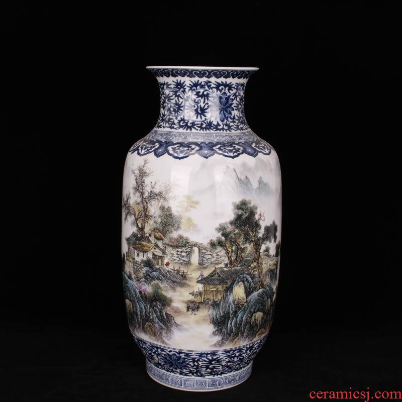Jingdezhen imitation yongzheng pastel scenery somebody else idea gourd vase vases, antique Chinese antique living room a study place
