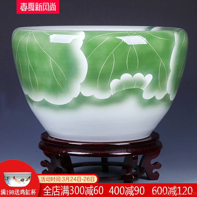 Jingdezhen ceramic landing goldfish bowl basin water lily tortoise cylinder fish bowl lotus refers to potted oversized living room