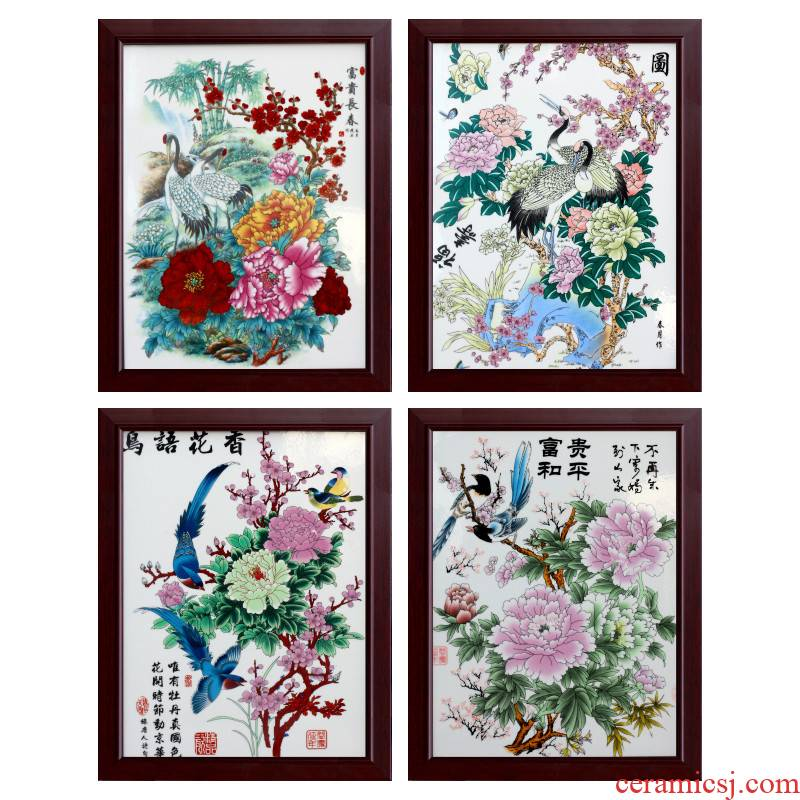 Jingdezhen ceramic painter powder enamel porcelain plate in the sitting room adornment picture four screen corridor corridor murals