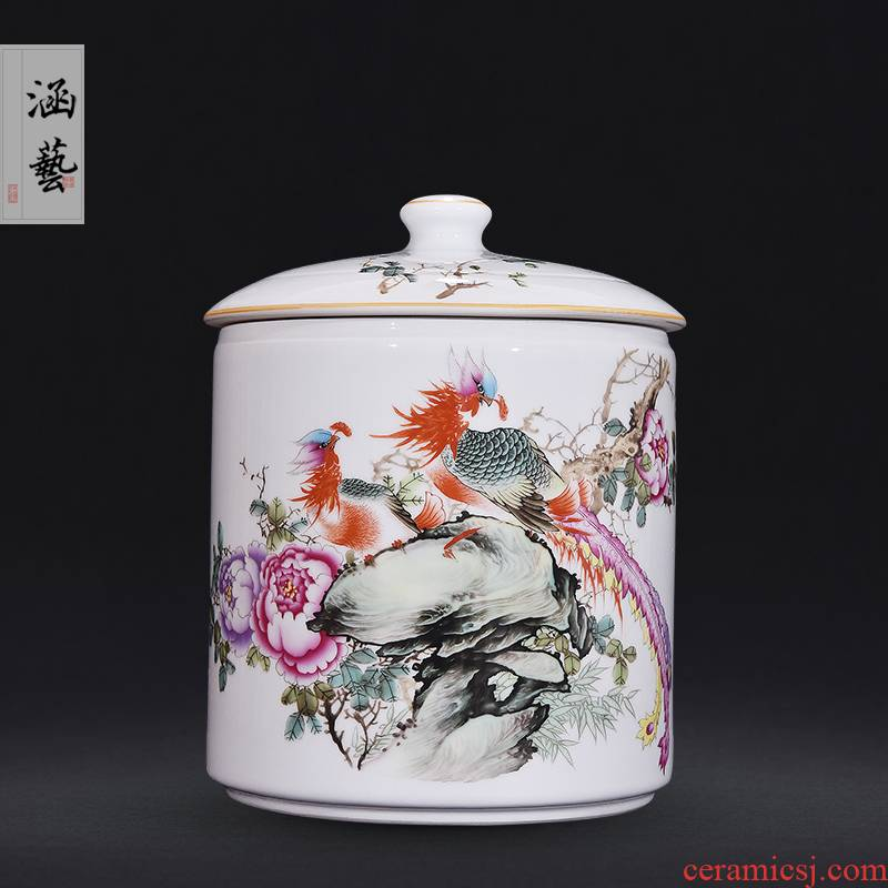 Jingdezhen ceramic powder enamel jar of husband and wife straight auspicious caddy fixings Chinese style living room home decoration furnishing articles craft gift
