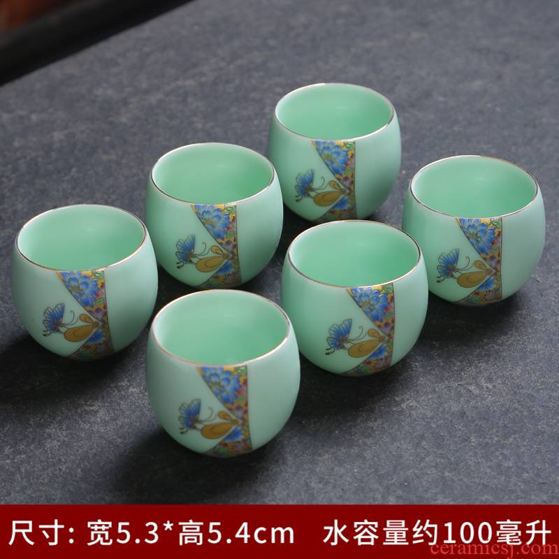 Tea celadon silver cup 999 ceramic building light silver sample Tea cup cup bowl household kung fu Tea master list