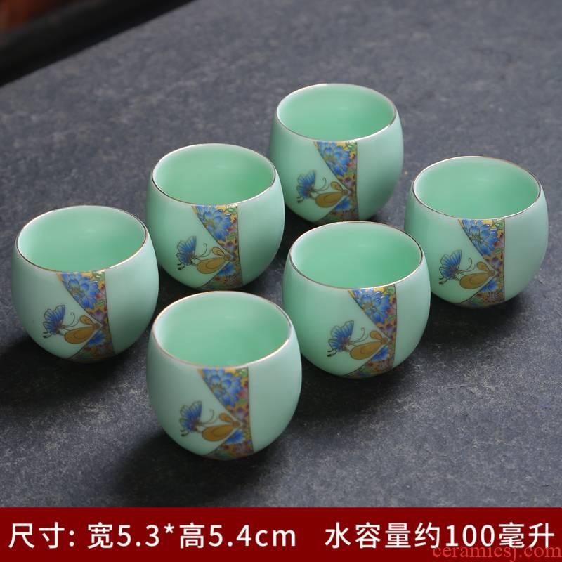 Tea celadon silver cup 999 ceramic building light silver sample Tea cup cup bowl household kung fu Tea master list