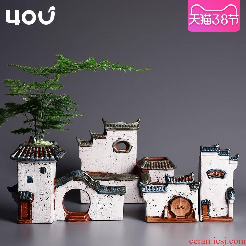 Chinese style house special landscape asparagus pot ceramic creative household micro landscape calamus meaty plant flower pot