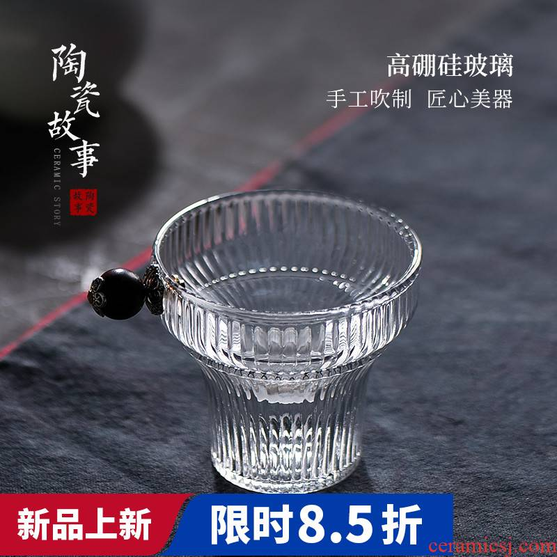 The Filter creative Japanese vertical stripes story glass) exchanger with the ceramics high temperature resistant) gauze tea accessories