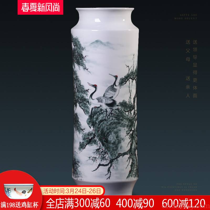 Jingdezhen ceramics famous hand - made pine crane, live large vases, flower arranging Chinese sitting room adornment is placed