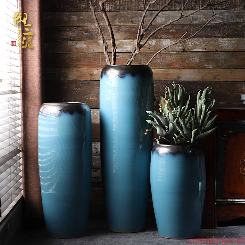 Contracted and I big blue European - style ceramics vase furnishing articles flower arrangement sitting room ground POTS hotel home decoration