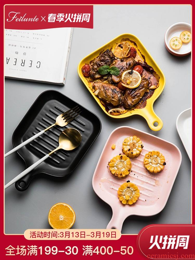 Fei trent Japanese surroundings while steak dishes creative household ceramic plate oven dedicated western - style food tableware food dish