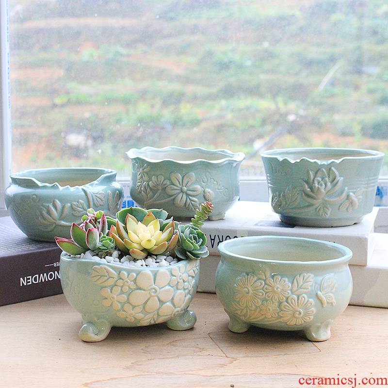 Flowerpot ceramic sale domestic large clearance package mail fleshy plant flowers, fresh meat big Flowerpot more coarse pottery