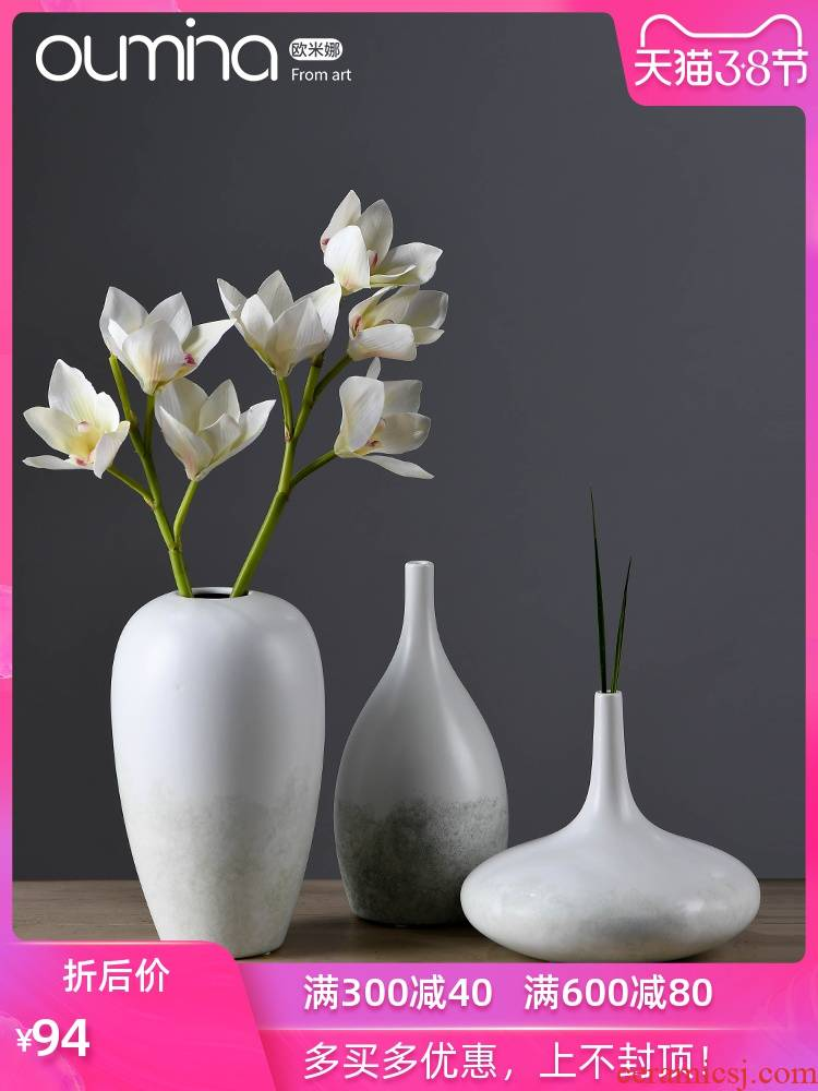 The mina ideas of new Chinese style white flower implement furnishing articles home sitting room furniture dried flower arranging flowers, ceramic decoration