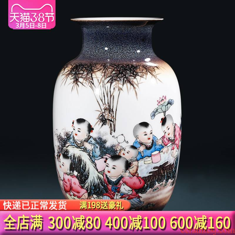 Jingdezhen ceramics craft up with tong qu, vases, flower arrangement sitting room of the new Chinese style household adornment furnishing articles present