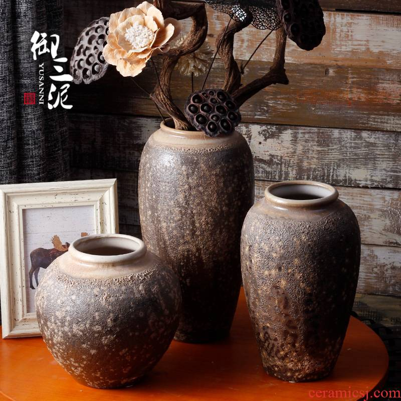Coarse clay some ceramic jingdezhen porcelain table dry flower vase manual simulation flower, flower implement restoring ancient ways furnishing articles furnishing articles decoration