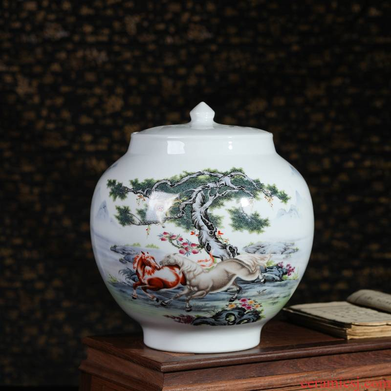Jingdezhen ceramics furnishing articles with cover storage tank altar of new home sitting room adornment kitchen caddy fixings barrel