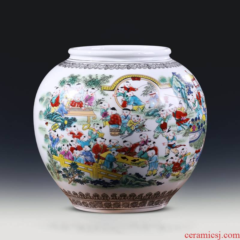 Jingdezhen ceramics vase storage tank with cover Chinese flower arranging household act the role ofing is tasted sitting room TV cabinet decorative furnishing articles