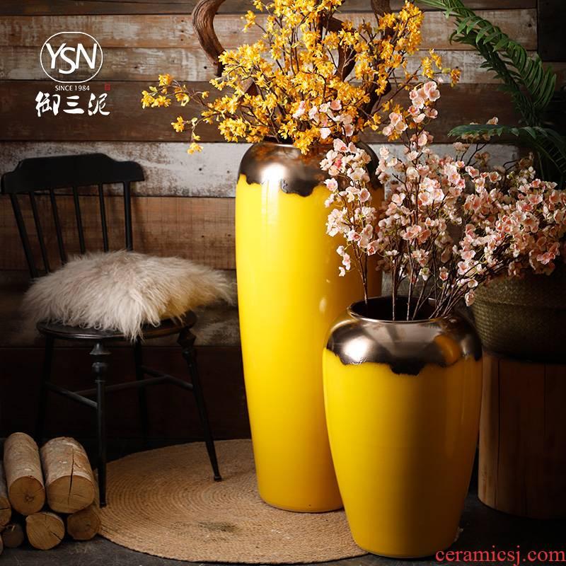 Ceramic vase simulation flower adornment flower arranging ground large porcelain decoration big yellow plutus festival furnishing articles sitting room