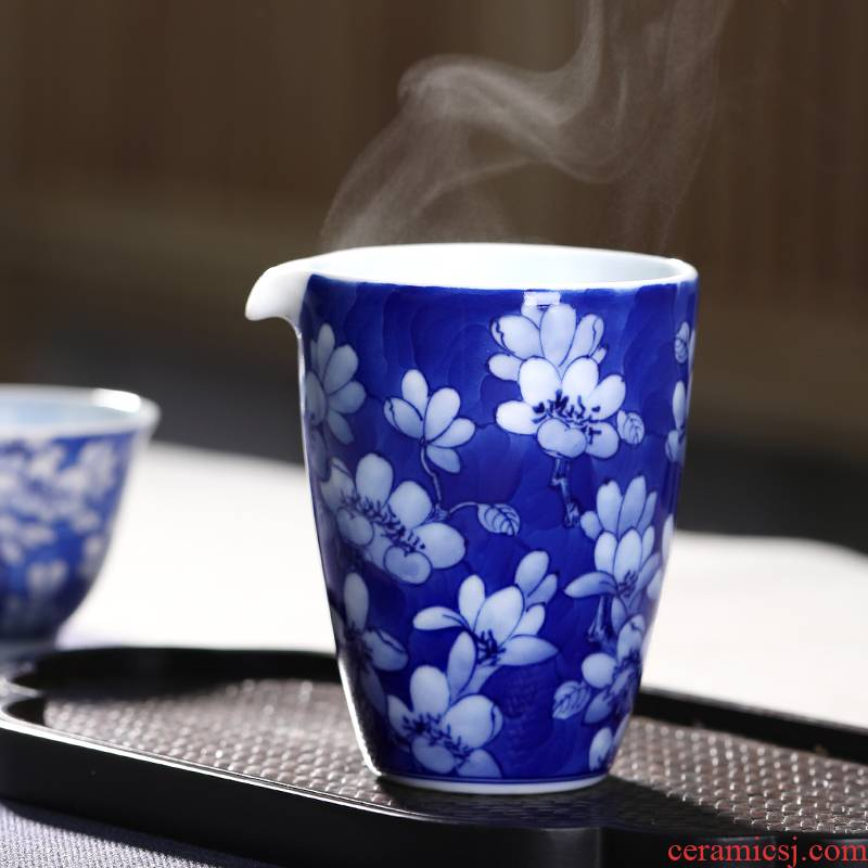 Mountain sound reasonable yulan sea blue and white hand draw together a cup of tea cup tea ware jingdezhen ceramic kung fu tea set